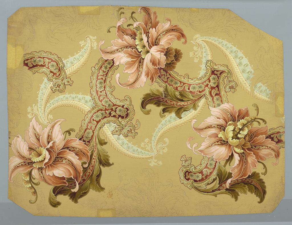stylized flowers and scrolls