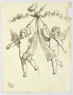 Two angels carrying a lance and sponge, symbolic of Christ's Passion. Scrolls flutter laterally with the inscriptions.