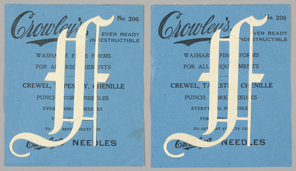 """Alphabet embroidery form: No. 206, """"Old English"""" Letters. The letter I mounted on paper."""