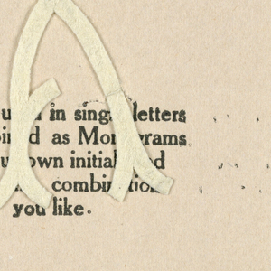 """Alphabet embroidery form, partial alphabet, """"Stick"""" letters. The letter X mounted on paper."""