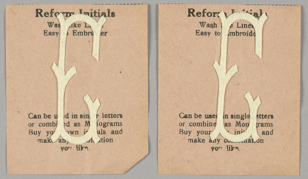 """Alphabet embroidery form, partial alphabet, """"Stick"""" letters. The letter C mounted on paper."""
