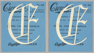 "Alphabet embroidery form: No. 206, ""Old English"" Letters. The letter C mounted on paper."