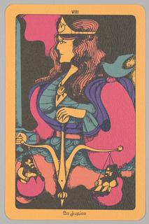 "Card, ""VIII, La Justice"" from Linweave Tarot Deck, 1967"