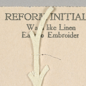 """Alphabet embroidery form, partial alphabet, """"Stick"""" letters. The letter l (lower case L) mounted on paper."""