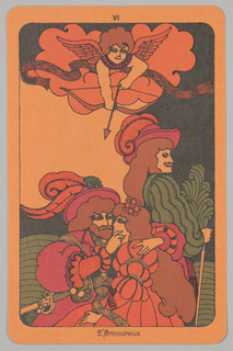 """Card, """"VI, L'Amoureux"""" from Linweave Tarot Deck, 1967"""