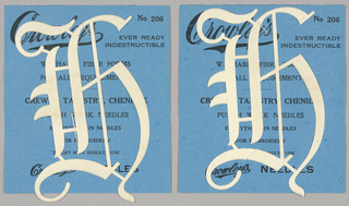 "Alphabet embroidery form: No. 206, ""Old English"" Letters. The letter H mounted on paper."