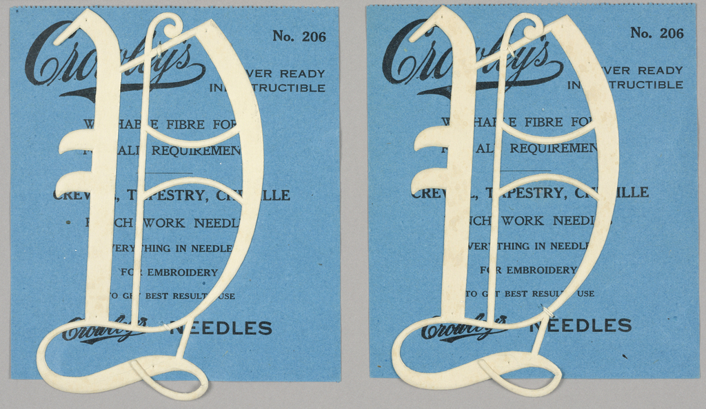"""Alphabet embroidery form: No. 206, """"Old English"""" Letters. The letter D mounted on paper."""