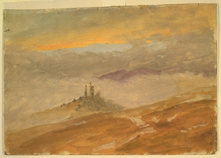 A hill-top, lightly covered with patchy snow.  A crowding of scrub pines on a promontory in middle distance, amid blue hills, partially obscured by low-lying clouds towards the background. The sky is bathed in orange glow.
