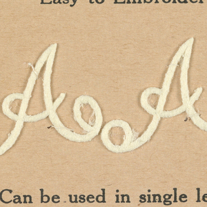 """Alphabet embroidery form: letter """"A"""". Two A's on each paper mount."""