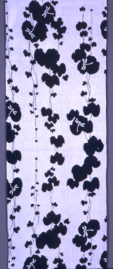 Kimono length with a design of water flowers, dragon flies, and long vertical stems in dark blue on a white ground.