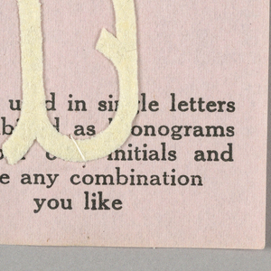 """Alphabet embroidery form, partial alphabet, """"Stick"""" letters. The letter B mounted on paper."""