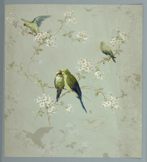 birds on boughs with fruit  blossoms