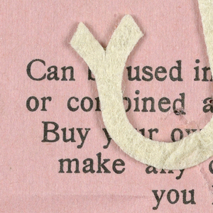 """Alphabet embroidery form, partial alphabet, """"Stick"""" letters. The letter j mounted on paper."""