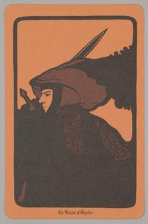 """Card, """"Le Valet d'Épée"""" from Linweave Tarot Deck, 1967"""