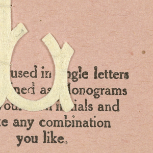 """Alphabet embroidery form, partial alphabet, """"Stick"""" letters. The letter L mounted on paper."""
