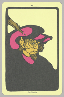 "Card, ""XV, Le Diable"" from Linweave Tarot Deck, 1967"