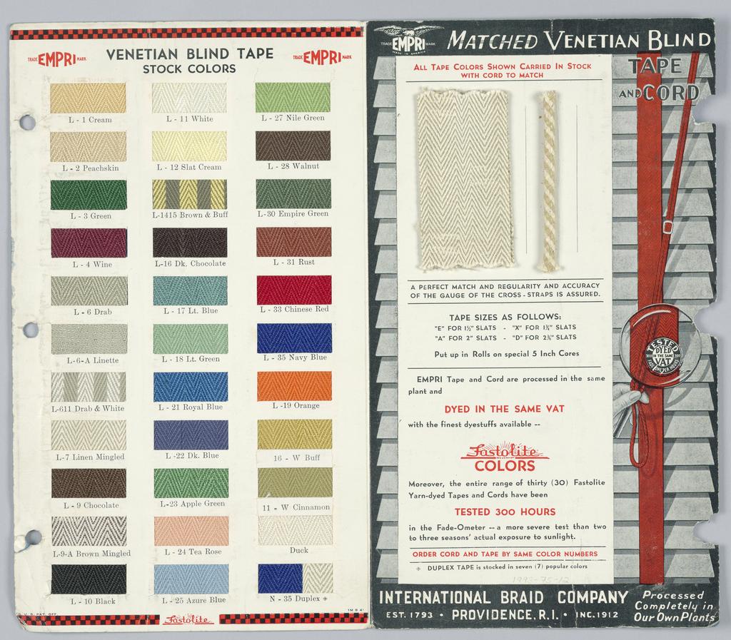 Folded sample card with 33 samples of venetian blind tape.