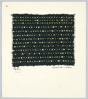 Plain weave with paired warps of black cotton and wide flat strips of synthetic metal.  Warp: 2 ply black cotton and black bouclé in random arrangement. Weft: flat yellow metallic alternating with 2 wide black chenille yarn.