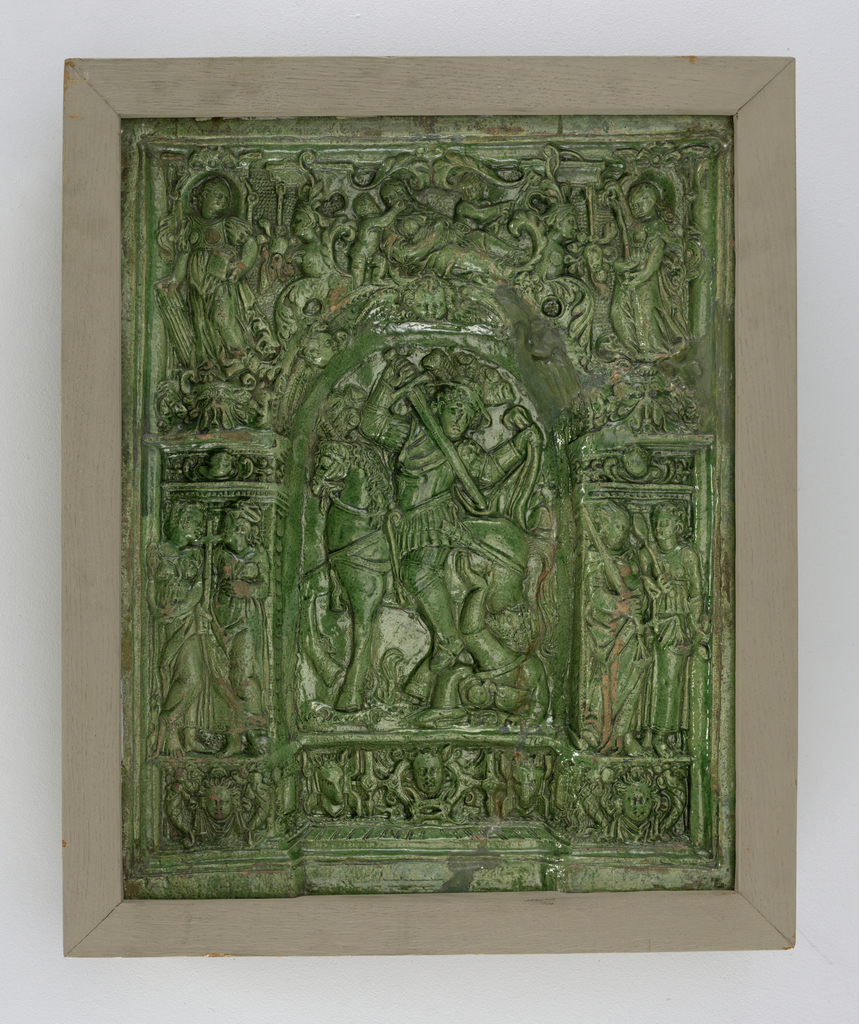 Within an arched niche are St. Martin and the Beggar. At base are strapwork, pendants, masks, grotesques, and seven figures symbolizing the three ecclesiastical and four cardinal virtues: Faith, Hope, and Charity; Temperance, Prudence, Justice, and Fortitude. All decorations in relief.