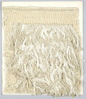 2/2 twill with supplementary weft loops (slip loop with an extra wrap).  Warp: white 3 ply cotton string alternate with beige yarn.  Weft: 3 rows of white synthetic paired with flat gold metallic alternate with 2 rows beige chenille.