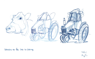Concept Art, Evolution of the Cow-to-Tractor, Cars, 2006