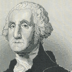 Portrait of George Washington with an eagle bearing a shield flanked by laurel branches.