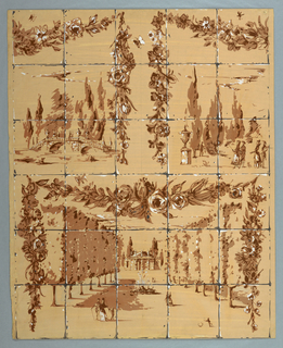 Drawing, Landscape Garden and Avenue of Trees with People Promenading, 1944–88