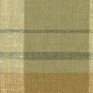Predominantly yellow and gold color with 4 warp stripes of brown, light brown and green  and 1 rust weft stripe.