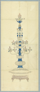 Vertical rectangle. Design for the Royal Pavilion, Brighton. A tall shaft rising from a jardinère on a stand. Large and small branches with clusters of Chinese flowers spring  from the shaft.  Original album associated with this collection still exists.  See 1948-40-1 accessory