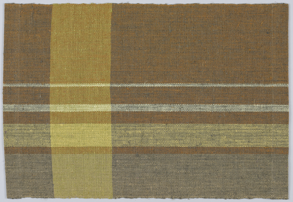 Predominantly green and light brown with 4 warp stripes of brown, rust and gold color and 1 gold weft stripe.