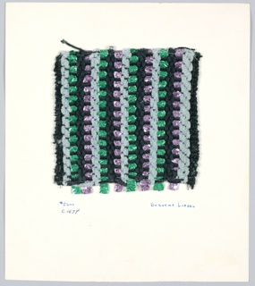 2/2 twill interrupted after 2 weft of blue or black chenille by 2 wefts of plain weave with paired warps of various cotton and synthetic metal yarn. Warp: black bouclé alternating with 3 ply yarn. Weft: chenille yarn in blue or black, braided synthetic in pink or green. 3 chenille followed by 1 metallic braid.