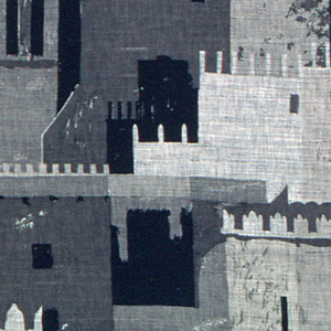 Abstracted cityscape off the walls, windows and cornices of Marakesh in tonal grays and black.