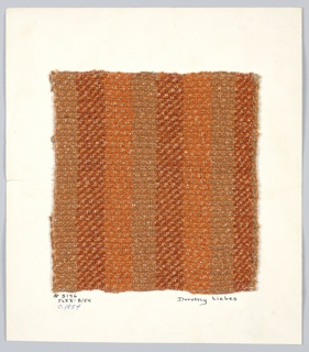 2/2 twill in shades of brown and orange with metallic accents.  Warp: repeating stripes of 12 brown 2 ply yarn, 14 rust bouclé, 14 orange textured yarn. Weft: alternating rows of 3 shades of brown yarn, most paired with flat copper colored metallic yarn.