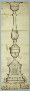 Drawing, Elevation of an Altar Candlestick, 1760–1800