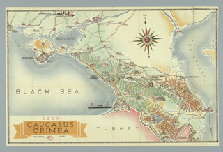 Map, Caucasus Crimea, pictoral