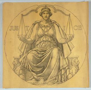 Classical female figure seated on a plinth supported by griffons, holding one bowl of scale in each hand. Roundel outline around figure.