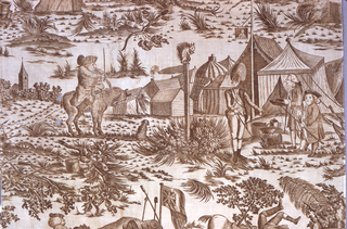 Length of cream cotton, composed of two pieces stitched lengthwise, copperplate printed in brown. Six satirical scenes in a military encampment: soldier being thrown from his horse, a woman in a large bonnet being escorted into the camp.  On a barn are the initials A.D. (I?), and on the end of a drum the words Royal Artillery G. 111.