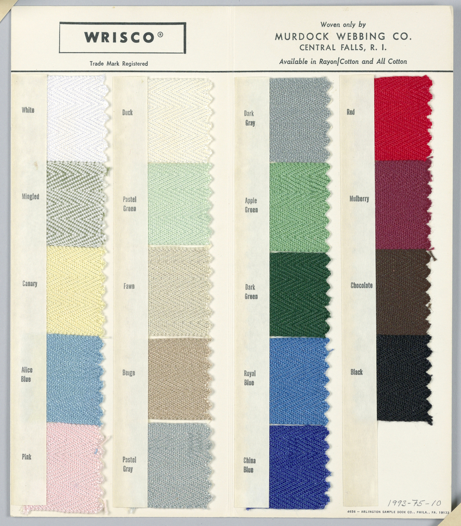 Venetian Blind Tape Sample Card (USA), ca. 1950
