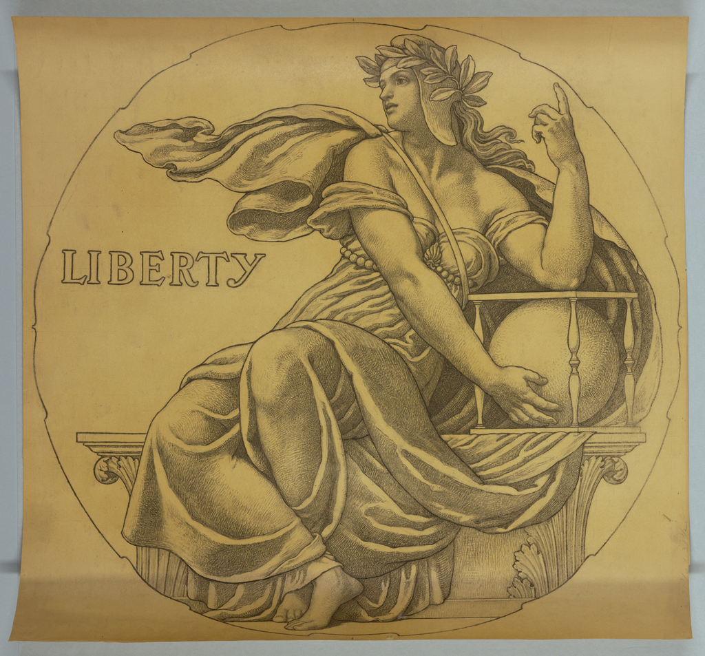 """Drawing, Cartoon for Mosaic: Wisconsin State Capitol, """"Liberty"""", 1912"""