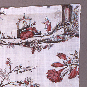 Fragment with a small-scale chinoiserie design in red, brown and black. Pattern shows a man in a tall hat and long robe fishing as a woman looks at him through an arch; at right, a servant offers refreshments. At the far right is a fantastic arch with an acrobat balancing at the top on one foot. A projecting arm draped in cloth is attached to the top of the arch, and on the end sits a lute player. At the far left is a tall spray of roses and foliage. In the foreground of the vignette is foliage and fruit. Some picotage in background. Overprinting of brown and red to give shading.