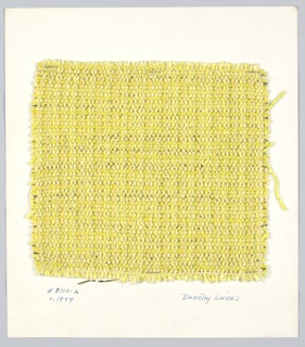 Plain weave with paired and unpaired warp and wefts in bright yellow with synthetic metal.  Warp: 4 different bright yellow yarns in regular alternation. Every fourth yarn is paired with narrow wrapped gold yarn. Weft: a variety of bright yellow textured yarns, each paired with flat gold metallic.