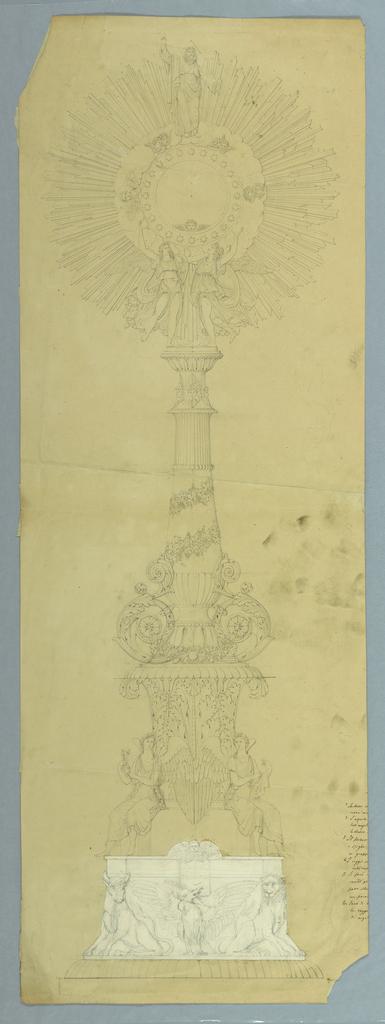 Drawing, Design for Monstrance, 1820–40