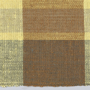 Predominantly yellow and light brown with 4 warp stripes of gold color, rust and brown and 1 green weft stripe.