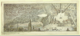 Drawing, Bird's-eye view of the Piazza del Popolo and the Pincio Gardens in Rome