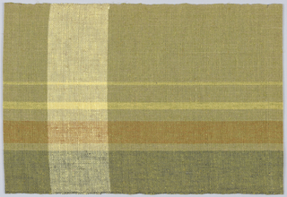 Predominantly brown and rust with 4 warp stripes of light brown, yellow and white  and 1 green weft stripe.