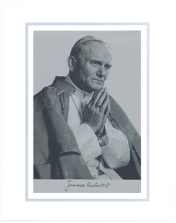 Seated figure of the Pope with hands together in front of face. Black, white and shades of gray.