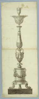 Drawing, Elevation of an Altar Candlestick, 1820–40