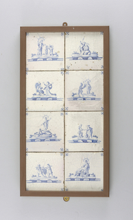 "Set of 8 square tiles, each painted in underglaze blue on white with a different Biblical scene and ""spider's head"" corner motifs; mounted in wooden rectangular frame, 2 across, 4 down."