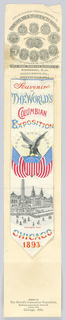 Bookmark with writing at top, eagle and flags in the center and a view of Machinery Hall at the bottom. Paper wrapper accompanies bookmark.