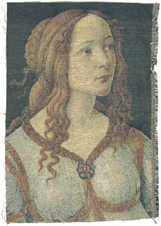 Head of a woman with trailing hair - after a figure in Botticelli's painting 'Primavera'. Multicolor.